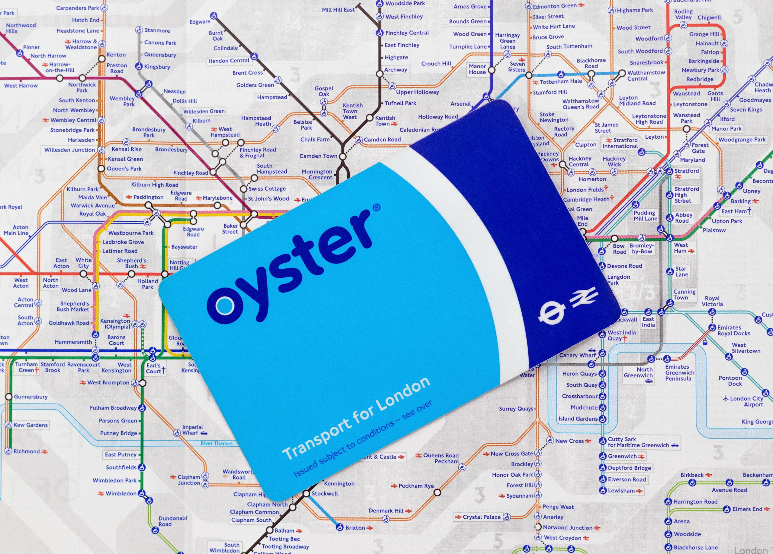 oyster card London England kollektivtransport Tbane